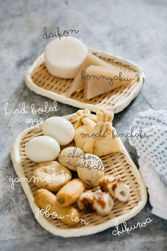 Various oden ingredients on two bamboo tray