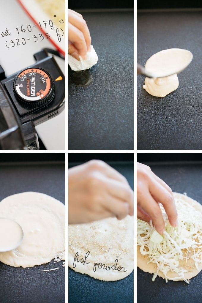 The third 6 steps of making hiroshima okonomiyaki in 6 photos