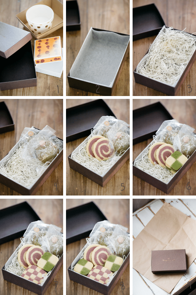 how to pack holiday baking goods such as matcha cookies and pinwheel cookies to pack into a box