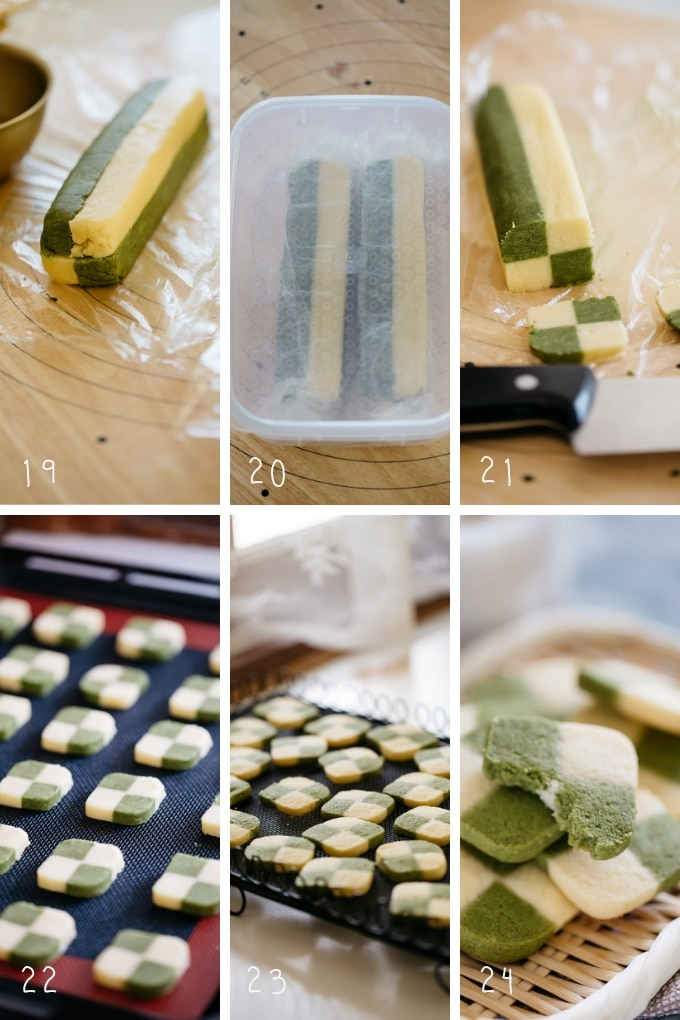 The last 6 steps of making matcha cookies in 6 photos