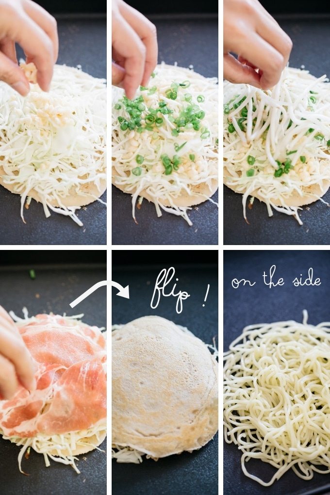 The forth 6 steps of making Hiroshima Okonomiyaki