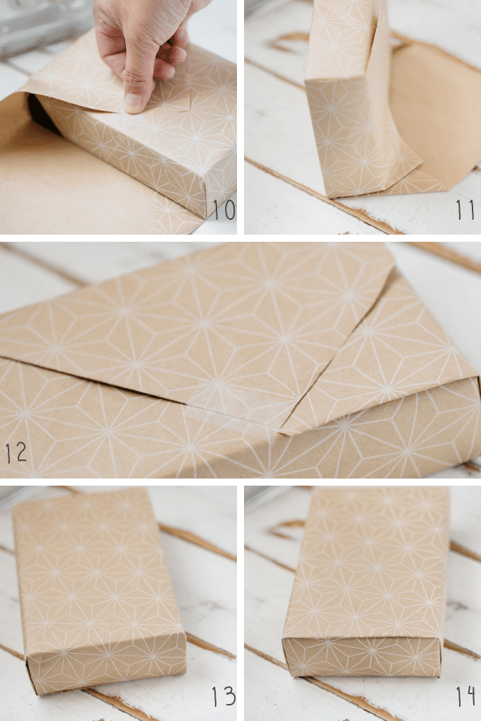 the second 5 steps of wrapping a box like Japanese department stores