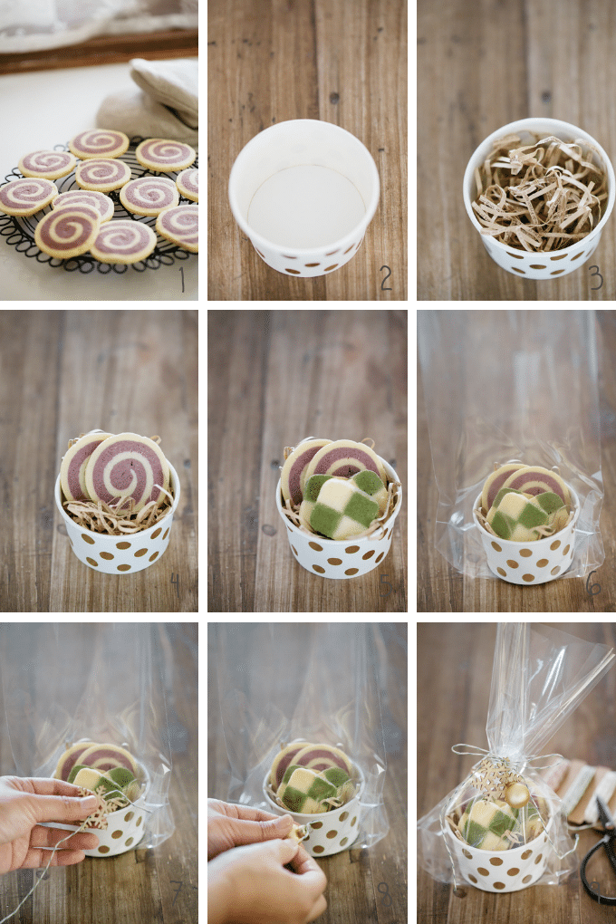 8 photos showing how to fill a food cup with cookies in 9 photos step by step
