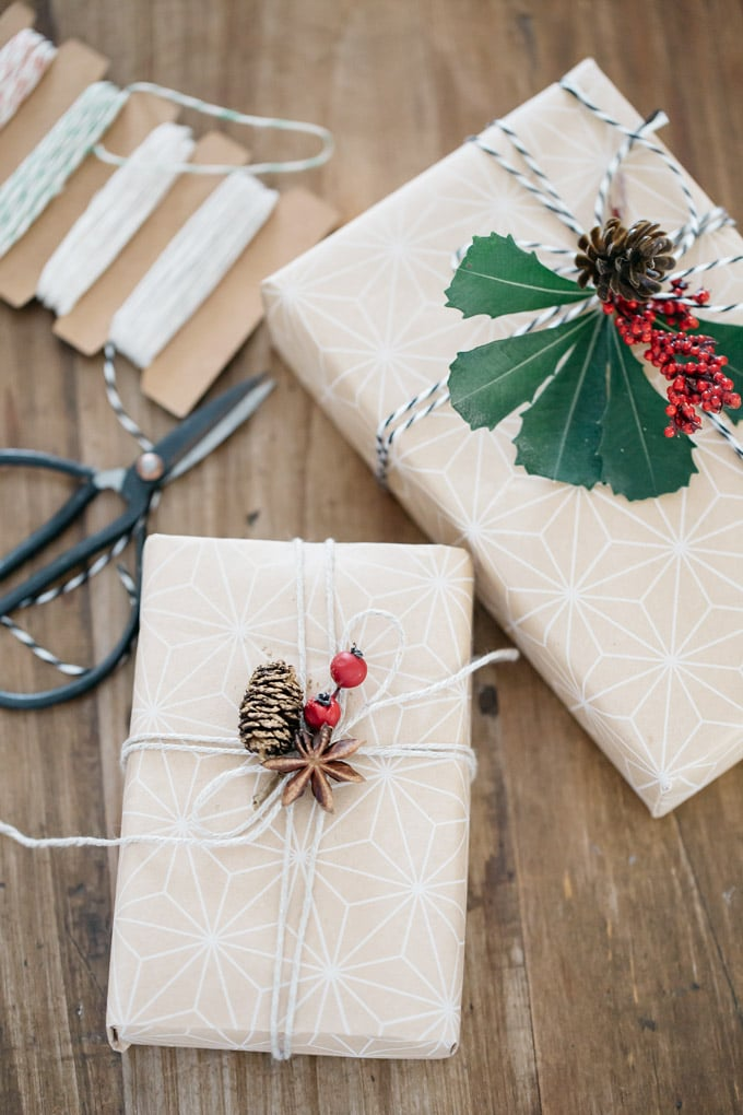 two box neatly wrapped and decorated with natural materials