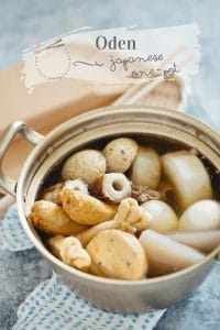 Oden cooked in a Japanese alminium pot