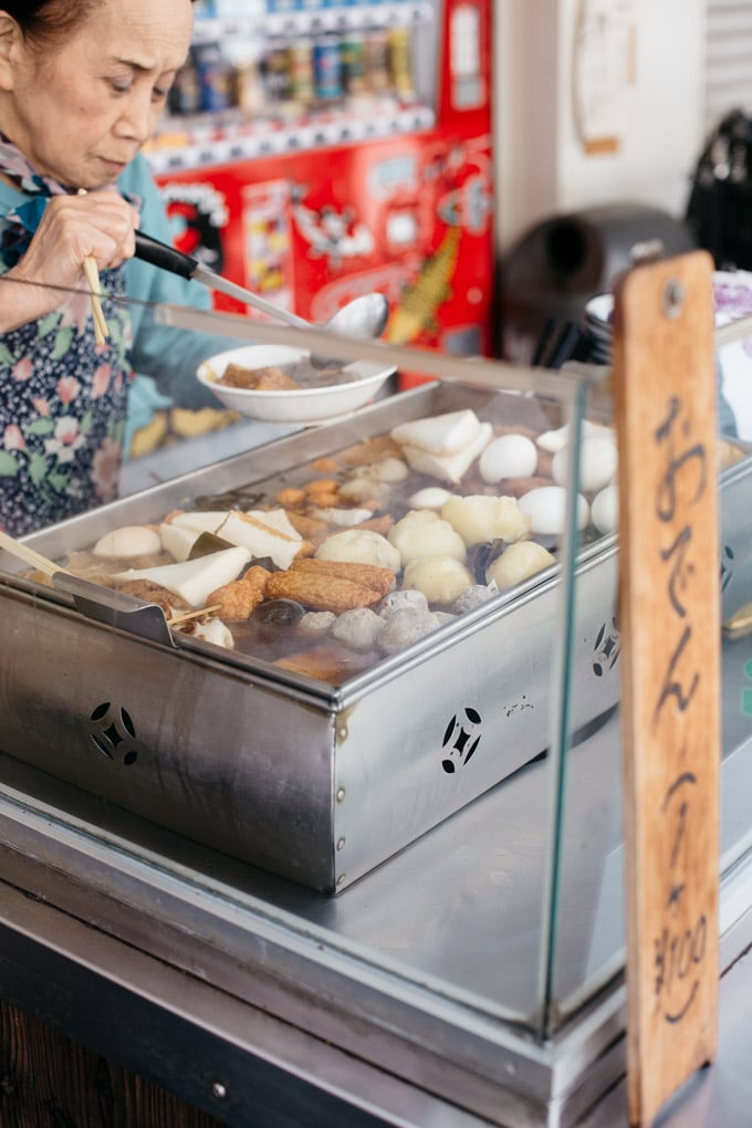 Oden is sold as street food in Tokyo