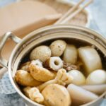 Oden being cooked in a Japanese aluminium pot
