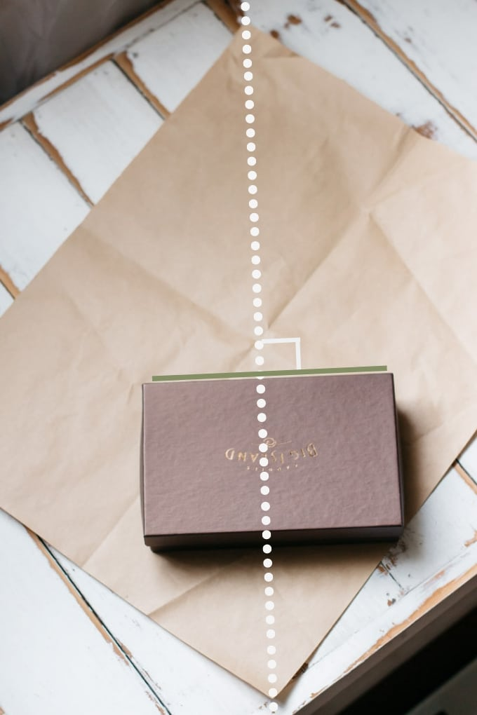 showing how to place a box on wrapping paper to determine required paper size