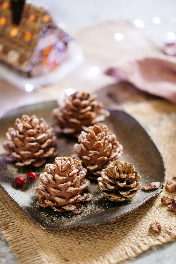 Christmas sweets 4 edible pine cones and a real pine cone served on a square plate