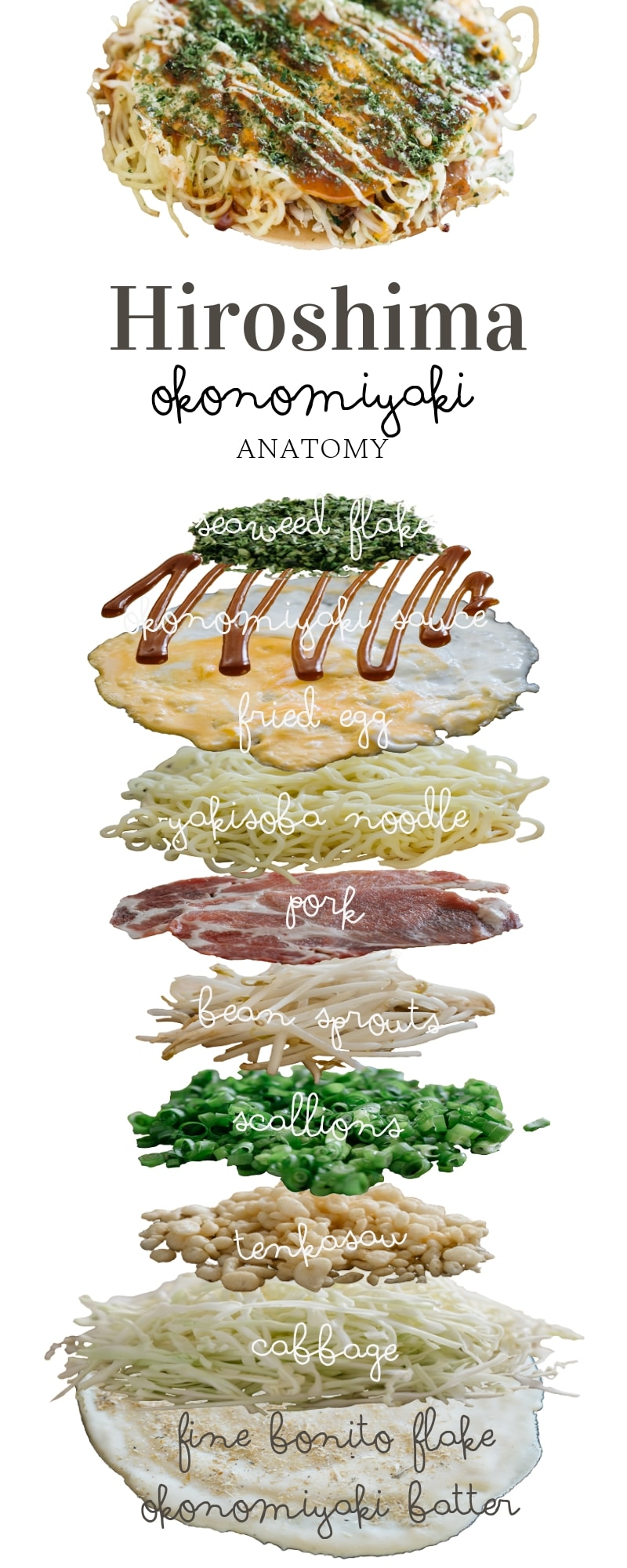 Hiroshima Okonomiyaki infographic- showing each layer of ingredients