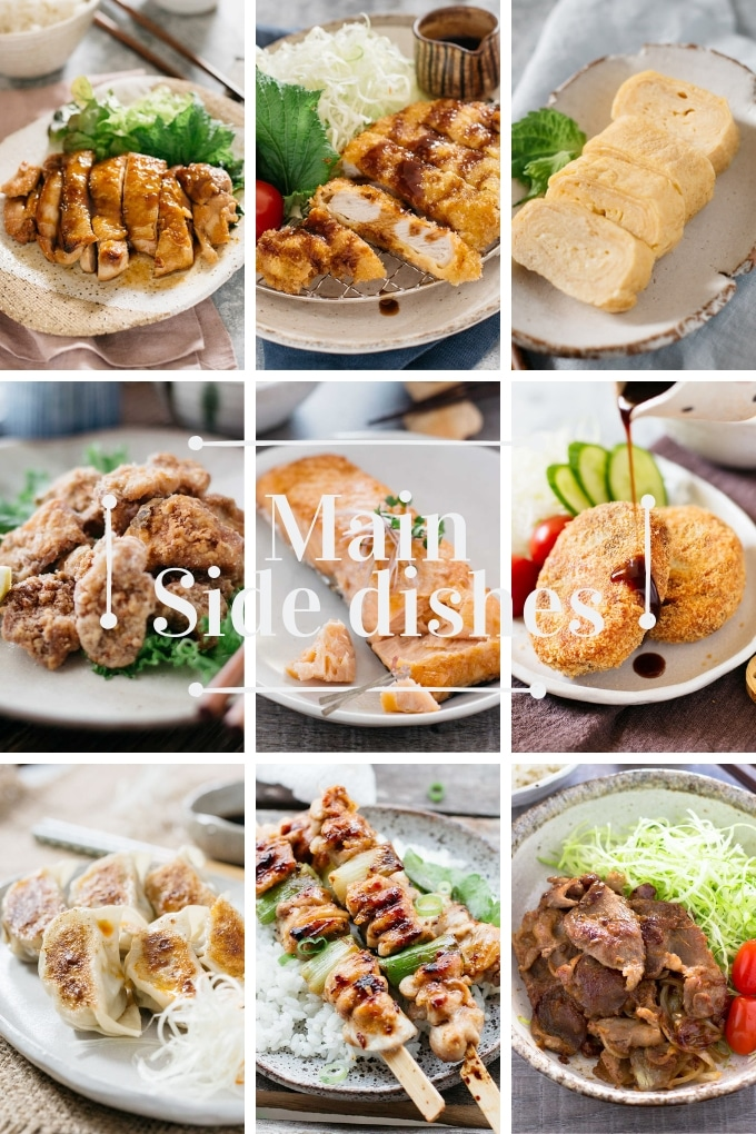 9 photos showing main side dish can be added to bento box