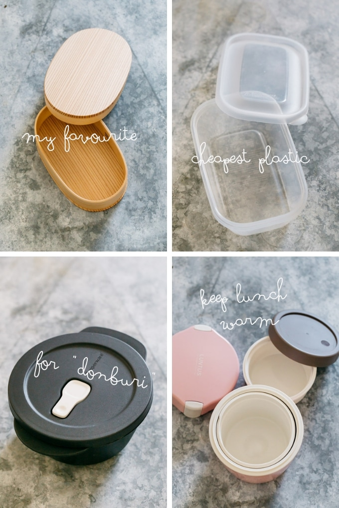 4 types of bento boxes in 4 panels of photo-one wooden, one plastic, one tupperware, and one thermos