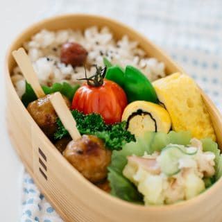 Completed Obento in a wooden Bento box