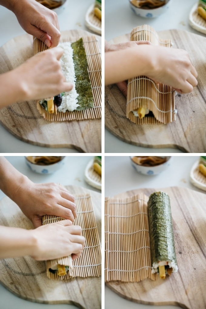 The last 4 steps of making ehoumaki roll in 4 photos