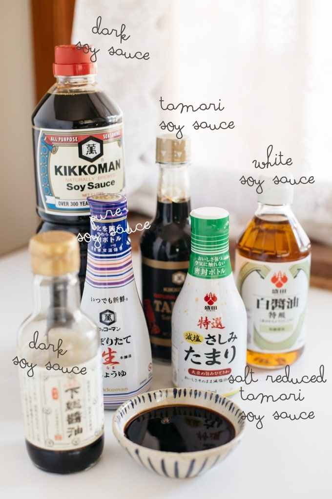 5 bottles of different soy sauces