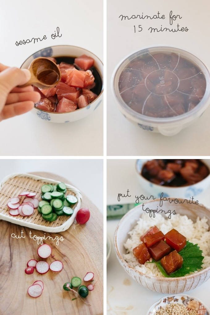 The second 4 steps of making poke bowls in 4 photos