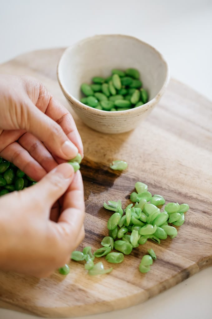 removing this skin of edamame beans
