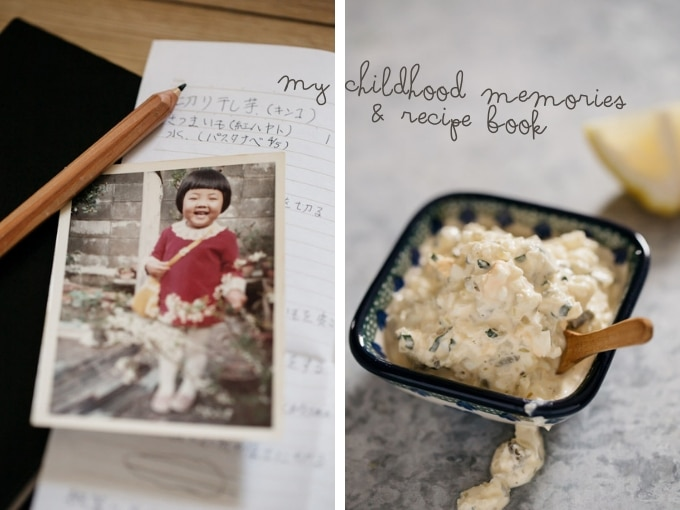 tartar sauce photo on the right, my old photo when I was a kid on the left with recipe notebook in back ground