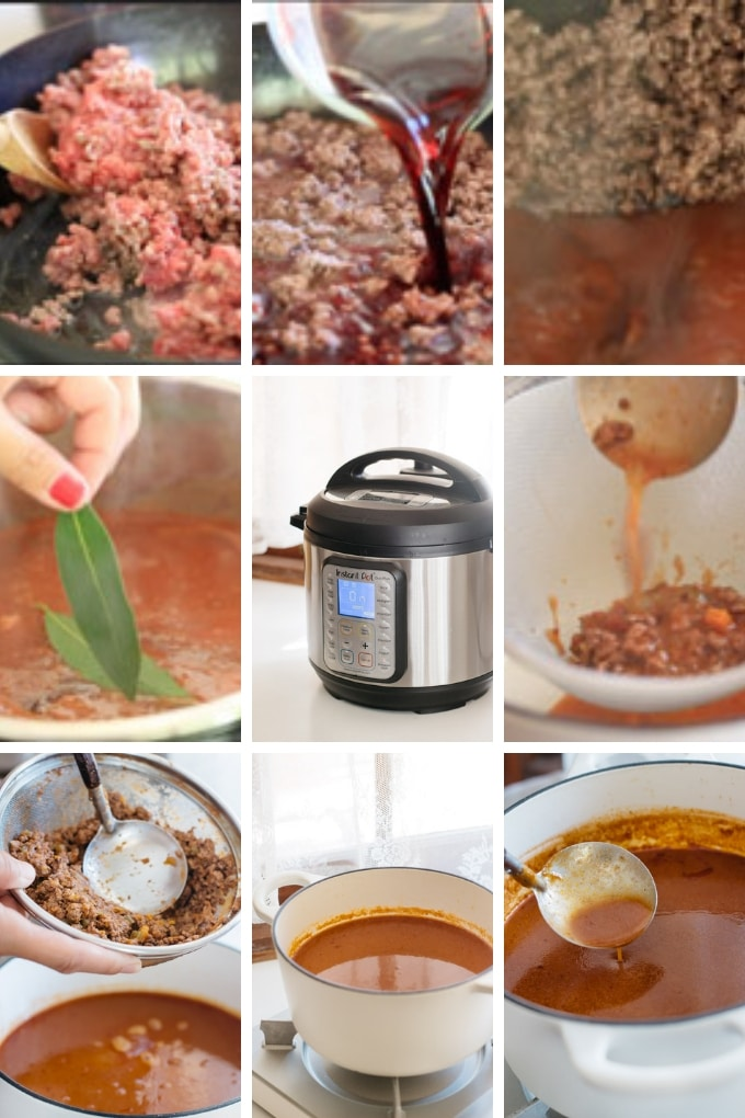 the last 9 steps of making demi glace sauce in 9 photos