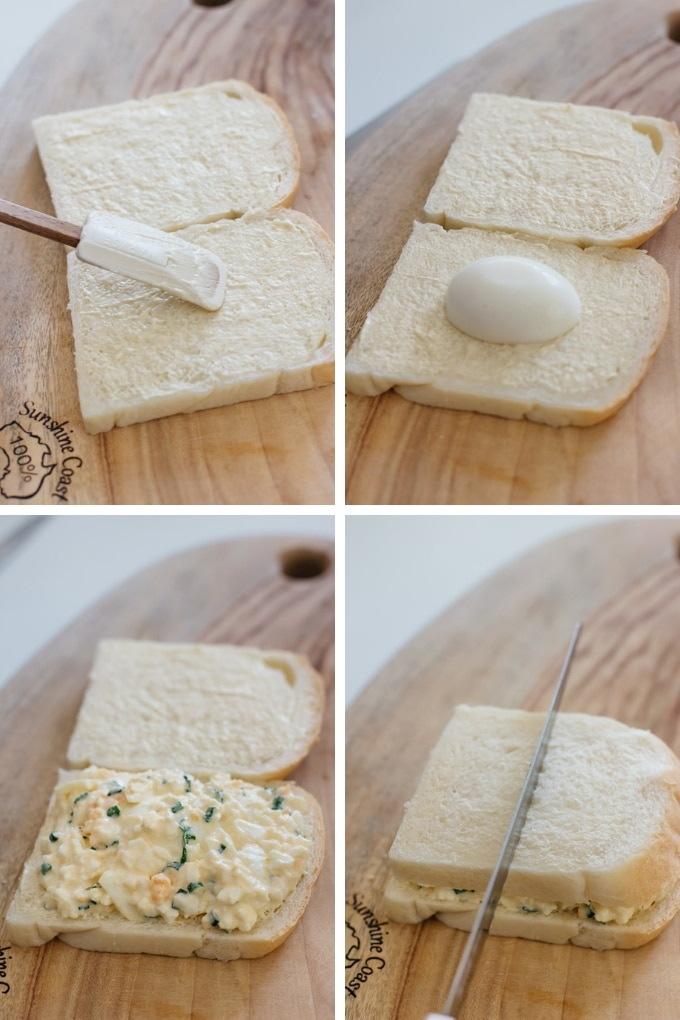 4 photos showing how to assemble Japanese egg salad sandwich
