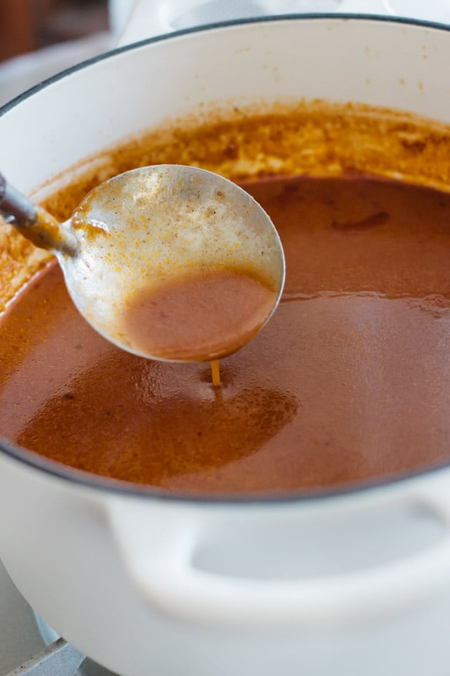 demi glace sauce reduced in a cast iron pot