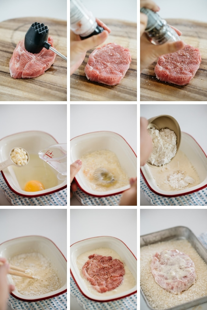 9 photos showing the first 9 process of making Katsu Sando