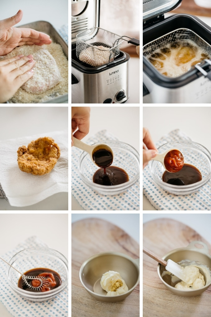 9 Photos showing how to make Katsu