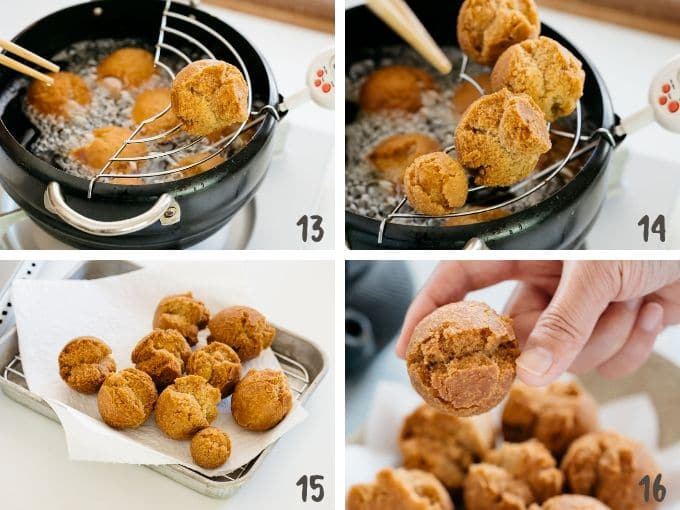 4 photos showing sata andagi deep fried and drained oil and ready to eat
