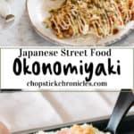 Pinterest pin for Okonomiyaki with text overlay