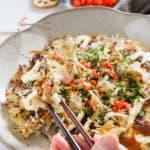 Pinterest pin for Okonomiyaki with the brand icon