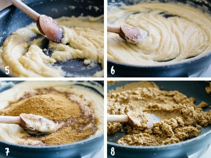 4 photos showing how to mix flour and butter then adding spices to the butter and flour