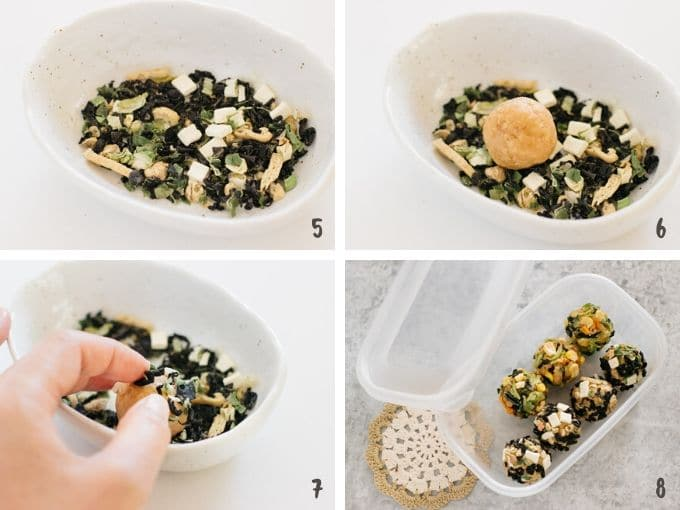 4 photos showing how to roll miso balls on freeze dried ingredients