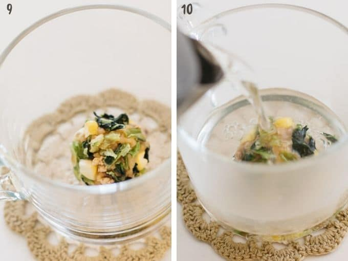 two photos showing instant miso bal