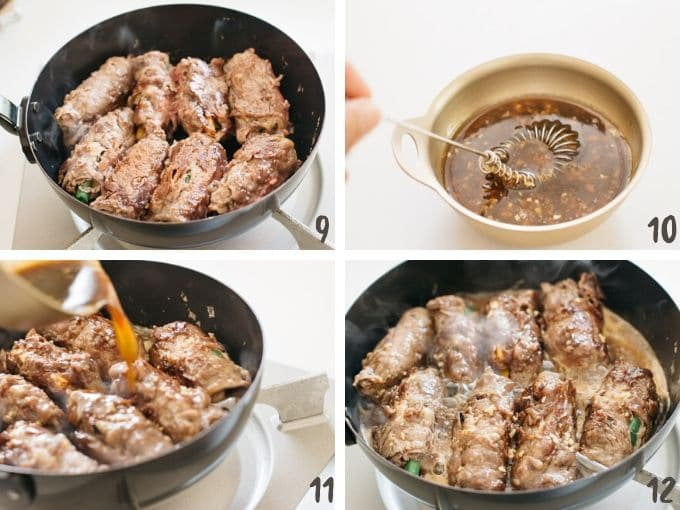 four photos showing cooking beef rolls in a skillet and special teriyaki sauce poured over the beef roll ups