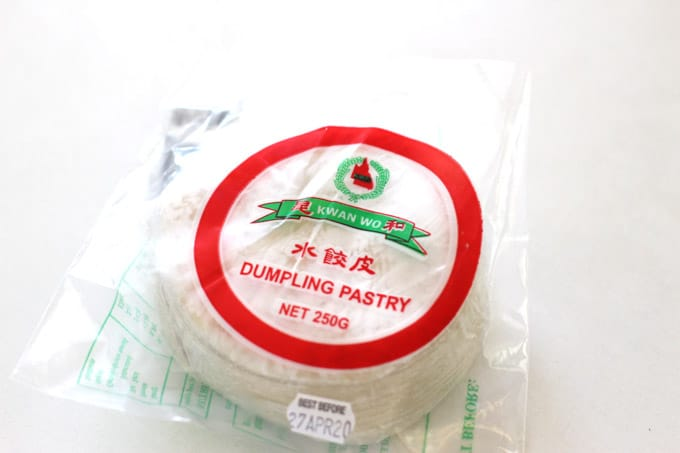 Chinese dumpling wrappers in a packet
