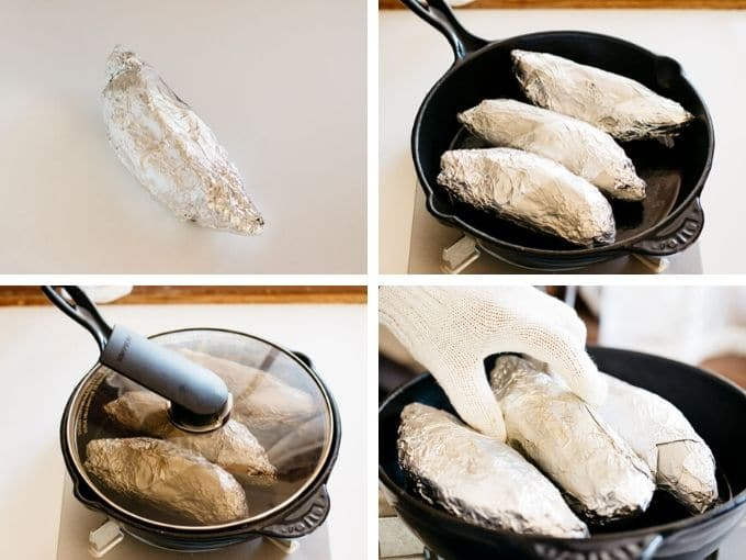 four photos showing wrapping sweet potatoes with aluminum foil and roasting in a pan