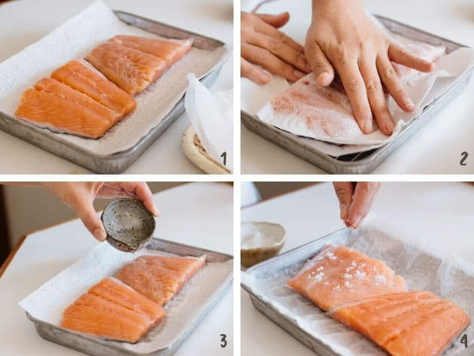 4 photos collage showing cleaning salmon fillet, sprinkling sake over it, and apply salt over the salmon piece