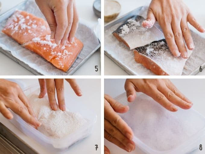 4 photo collage showing applying salt over salmon fillet and wrapping it with kitchen paper to rest