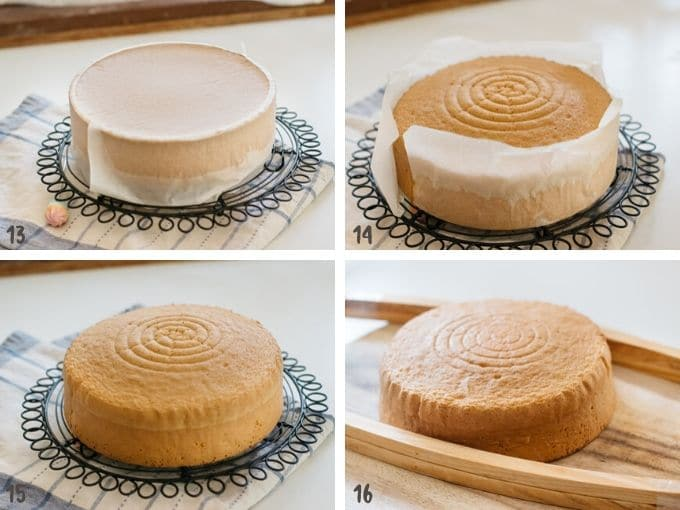 four photo collage showing cooling down the baked sponge cake on a cooling wire