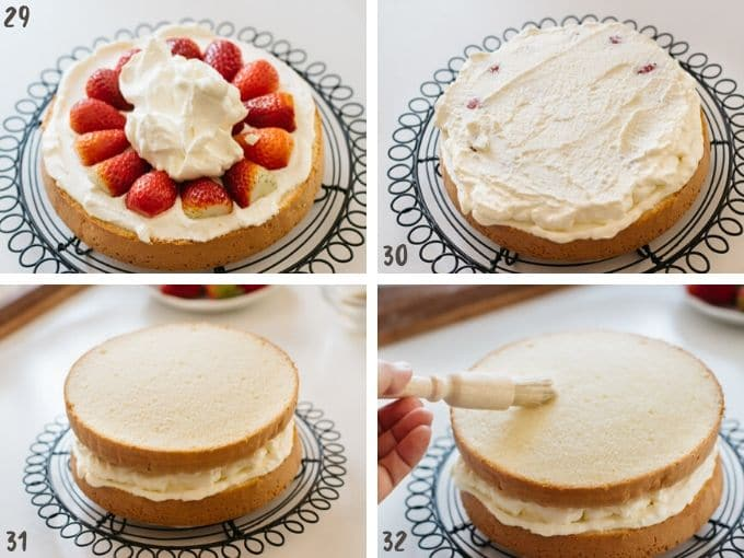 four photos collage showing arranging strawberry and whipped cream and layered top part of sponge cake