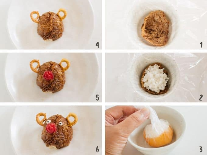 Assembling and making rudolph sushi balls  step by step in 6 photos