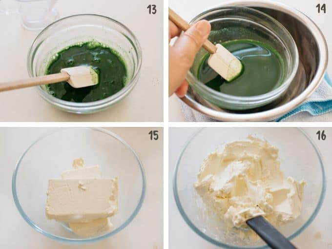 softening cream cheese and preparing matcha and gelatine in 4 photos