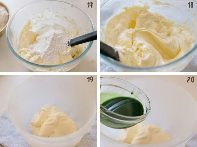 mixing posder sugar and cream cheese and combining with matcha and gelatine mixture in 4 photos