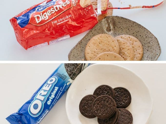 Mcvities digestive biscuits on the top and oreo cookies on the bottom
