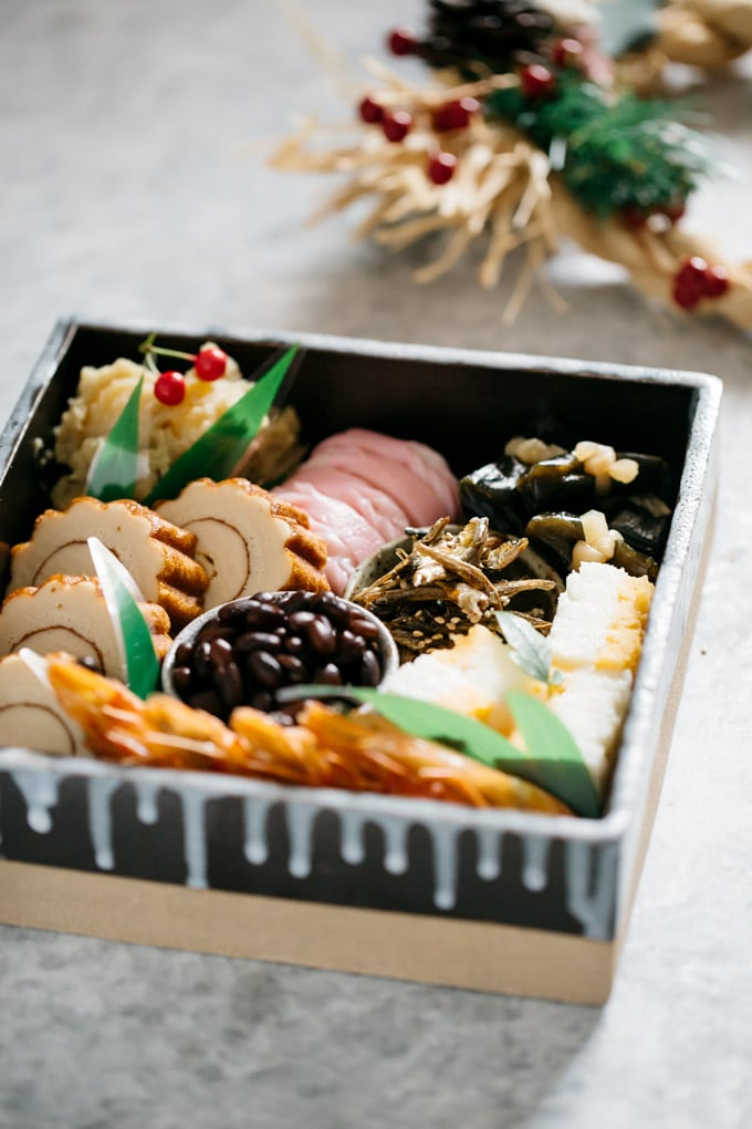 Osechi ryori packed in a square baking dish
