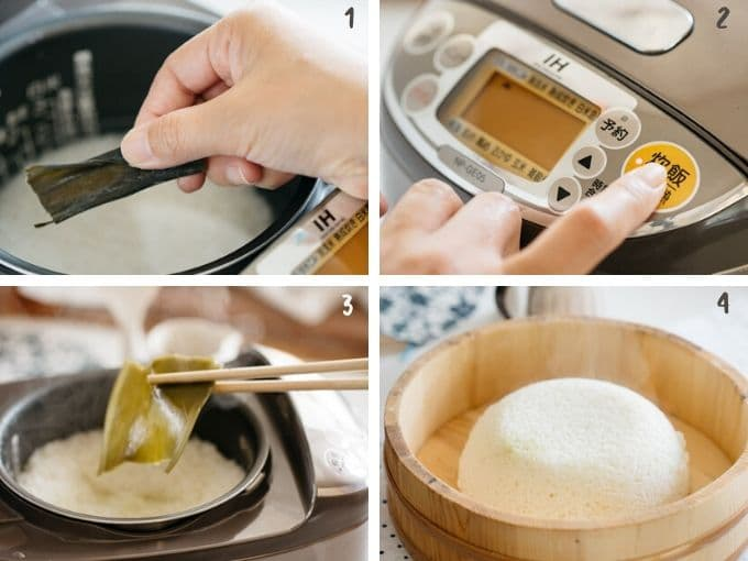 4 photos showing cooking rice process in a rice cooker