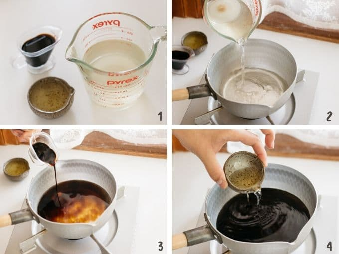 4 photos collage showing how to make soba noodle soup step by step