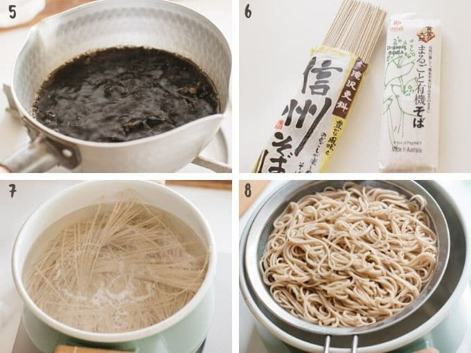 4 photos showing cooking soba noodle