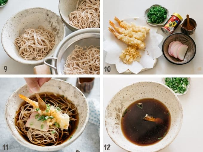 4 photos showing placing cooked soba noodles in two separate bowls, topp with prawn tempura and kamaboko fish cake, green onions and pour soup over the noodle