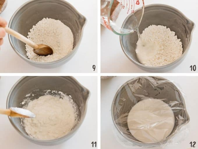 4 photos showing adding water to the rice flour and place kling wrap for microwave